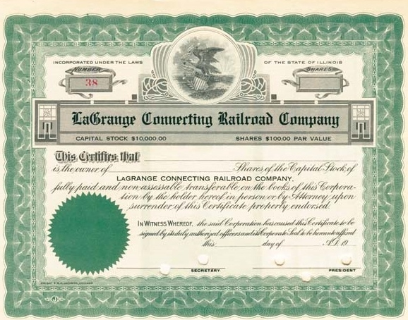 la grange connecting stock cert